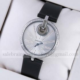 Replica Designer Captive De Cartier Stainless Steel Diamonds Black Fabric Strap Ladies Watches