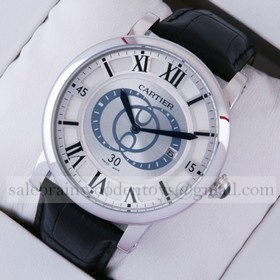 Replica Designer Cartier Rotonde de Cartier Silver Dial Black Leather Strap Steel Large Mens Watches