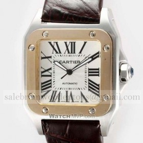 Replica Designer Cartier Santos 100 Two-Tone Rose Gold and SS Leather Strap Unisex Watches