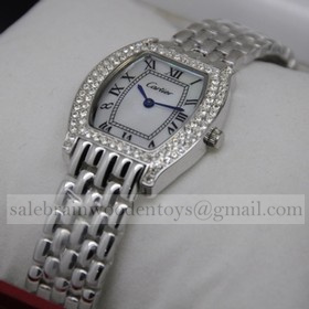 Replica Designer Cartier Tortue Diamond Stainless Steel Diamonds Bezel MOP Dial Ladies Watches