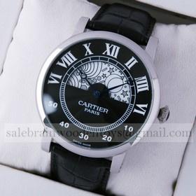 Replica Designer Rotonde de Cartier Day-Night Collection Privee Black Dial Steel Mens Watches