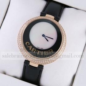 Replica Discount Captive De Cartier 18k Rose Gold Diamonds Black Leather Strap Ladies Watches