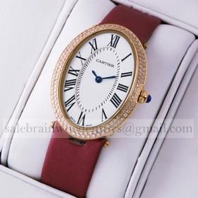 Replica Discount Cartier Baignoire Rose Gold Crimson Satin Strap Diamonds Unisex Watches