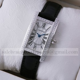 Replica Discount Cartier Tank Americaine 18K White Gold Black Leather Band Diamonds Ladies Watches