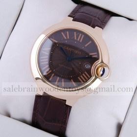 Replica Fake Ballon Bleu de Cartier 18K Rose Gold Black Dial Brown Leather Large Mens Watches
