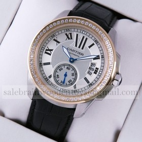 Replica Fake Calibre De Cartier Two-Tone Rose Gold Black Leather Diamonds Mens Watches