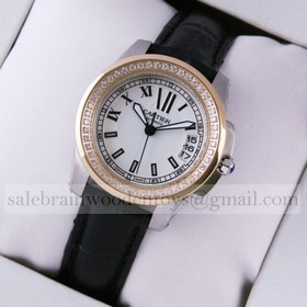 Replica Fake Calibre de Cartier Two-Tone Rose Gold Diamonds Silver Dial Black Leather Ladies Watches