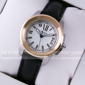 Replica Fake Calibre de Cartier Two-Tone Rose Gold Silver Dial Black Leather Ladies Watches