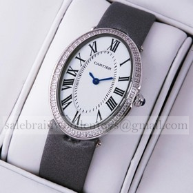 Replica Fake Cartier Baignoire Stainless Steel Grey Satin Strap Diamond Unisex Watches