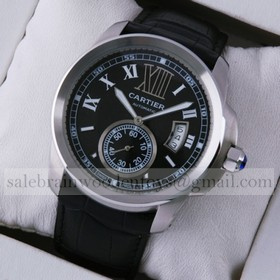 Replica Fake Cartier Calibre de Cartier Stainless Steel Black Dial Automatic Watches