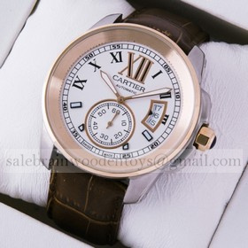 Replica Fake Cartier Calibre de Cartier Two-Tone 18k Rose Gold & Steel Automatic Watches