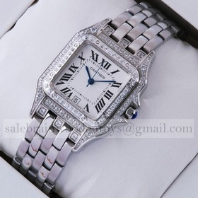 Replica Fake Cartier Panthere Diamond Stainless Steel Ladies Watches