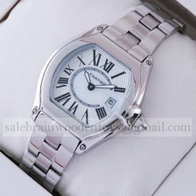Replica Fake Cartier Roadster Stainless Steel Silver White Dial Ladies Watches W62016V3