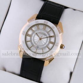 Replica Fake Cartier Rose Gold Diamonds Case White Dial Black Leather Strap Mens Watches