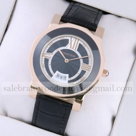 Replica Fake Cartier Rose Gold Octangle Case Black Dial Black Leather Strap Mens Watches
