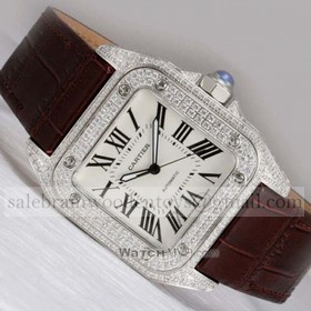 Replica Fake Cartier Santos 100 Full Diamonds Stainless Steel Leather Strap Unisex Watches