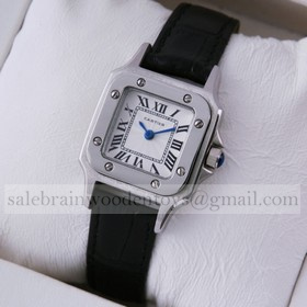 Replica Fake Cartier Santos 100 Stainless Steel Black Leather Strap Ladies Watches