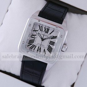 Replica Fake Cartier Santos 100 Steel Black Leather Strap Midsize Unisex Watches W20106X8