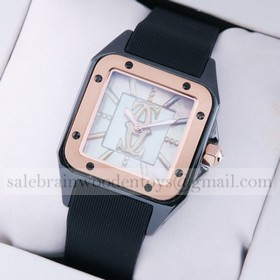 Replica Fake Cartier Santos 100 Tow-Tone Rose Gold Black Rubber Band Limited Edition Ladies Watches