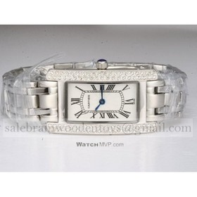 Replica Fake Cartier Tank Americaine 18K White Gold Diamonds Unisex Watch