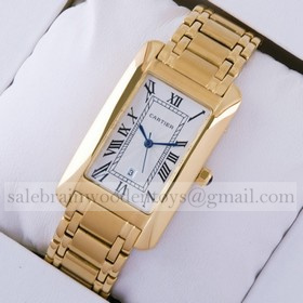 Replica Fake Cartier Tank Americaine 18K Yellow Gold Mens Watch