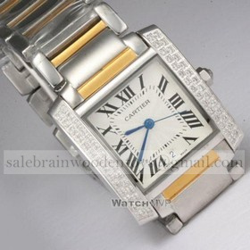 Replica Fake Cartier Tank Francaise Diamond Two-Tone Gold Two Rows Diamonds Bezel Mens Watches