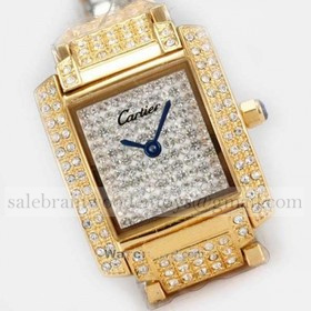 Replica Fake Cartier Tank Francaise Full Diamonds 18K Yellow Gold Ladies Watches