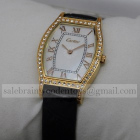 Replica Fake Cartier Tortue Diamonds 18K Yellow Gold MOP Dial Leather Strap Mens Watches