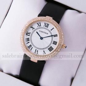 Replica Fake Ronde Solo De Cartier Diamond Rose Gold Black Satin Ladies Watches