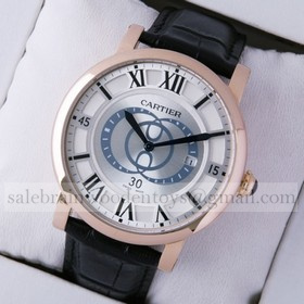 Replica Fake Rotonde de Cartier 18k Rose Gold Silver Dial Black Leather Strap Large Mens Watches