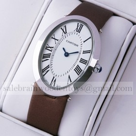 Replica Fake Unique Cartier Baignoire Stainless Steel Coffee Satin Strap Unisex Watches