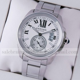 Replica Fake Unique Cartier Calibre de Cartier Stainless Steel Silver Dial Automatic Mens Watches