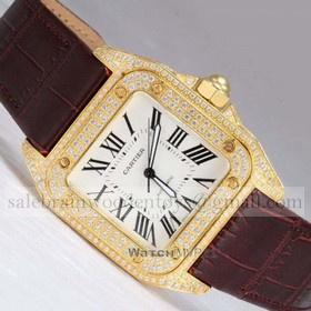 Replica Fake Unique Cartier Santos 100 Full Diamonds 18K Yellow Gold Leather Strap Mens Watches
