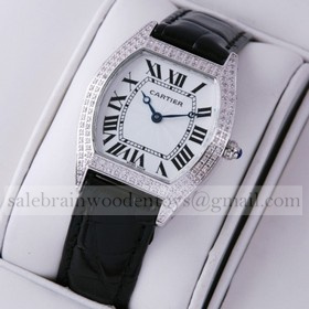 Replica Fake Unique Cartier Tortue Diamond Leather Strap Ladies Watches
