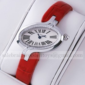 Replica Fake Unique Delices De Cartier Diamonds Stainless Steel Leather Strap Ladies Watches