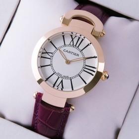 Replica Fake Unique Ronde Solo De Cartier Purple Leather 18K Rose Gold Ladies Watches