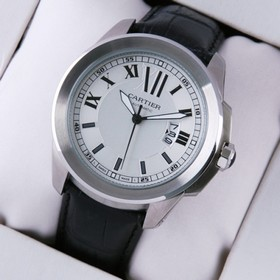 Replica Faux Calibre de Cartier White Dial Black Leather Strap Mens Watches