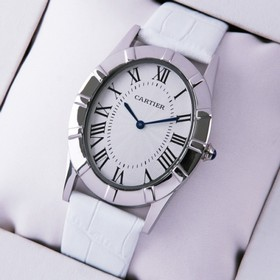 Replica Faux Cartier Baignoire Stainless Steel White Leather Strap Large Unisex Watches