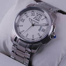 Replica Faux Cartier Calibre de Cartier White Dial Stainless Steel Mens Watches