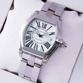 Replica Faux Cartier Roadster Automatic Stainless Steel Silver White Dial Mens Watches