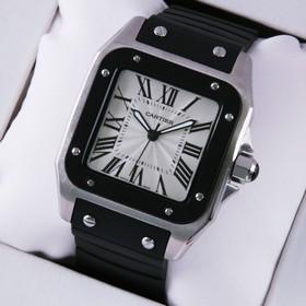Replica Faux Cartier Santos 100 Mens Watch W20121U2 Stainless Steel Black Rubber Band