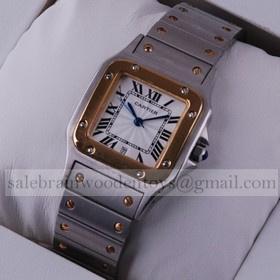 Replica Faux Cartier Santos Two-Tone 18K Yellow Gold Midsize Unisex Watches