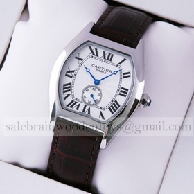 Replica Faux Cartier Tortue Stainless Steel Brown Leather Strap Ladies Watches