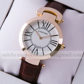 Replica Faux Ronde Solo De Cartier Brown Leather 18K Rose Gold Ladies Watches