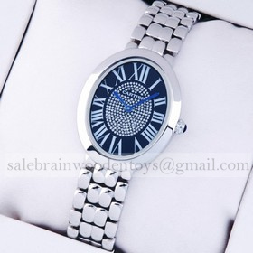 Replica High Quality Replica Cartier Baignoire Stainless Steel Blue Diamonds Dial Unisex Watches