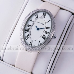 Replica High Quality Replica Cartier Baignoire Stainless Steel White Satin Strap Unisex Diamond Watches