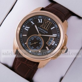 Replica High Quality Replica Cartier Calibre de Cartier 18k Rose Gold Brown Dial Automatic Watches