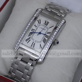 Replica High Quality Replica Cartier Tank Americaine 18K White Gold Diamonds Mens Watches