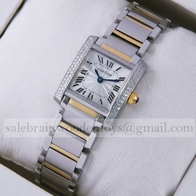 Replica High Quality Replica Cartier Tank Francaise Diamond Two-Tone Gold Two Rows Diamonds Bezel Ladies Watches