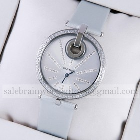 Replica Hot sale Fake Captive De Cartier Stainless Steel Diamonds White Fabric Strap Ladies Watches